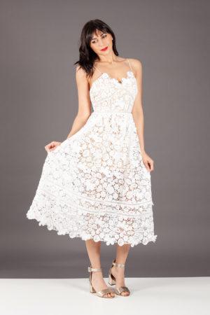 abito dress pizzo midi vestito white romantico nosecrets