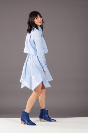 abito camicia blusa pizzo azzurro ermanno scervino AB54