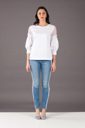 camicia blusa white tulle dexterior 48699