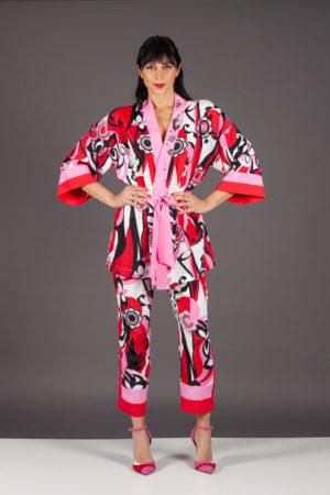 eleven pantaloni nenette rosso pink